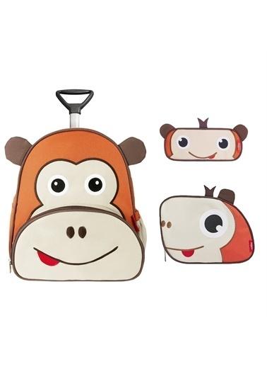 Zoozy Maymun Çekçekli Çanta Seti (Çekçekli Sırt Çanta-Beslenme Çantası-Kalemlik) Renkli